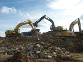 Three Excavators & a 54 Ton Tracked Jaw Crusher on a Property Development