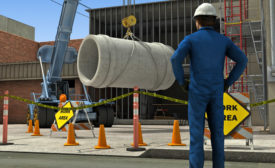 construction worker and a concrete pipe
