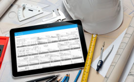 tablet and engineer's tools