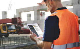 construction engineer with a tablet