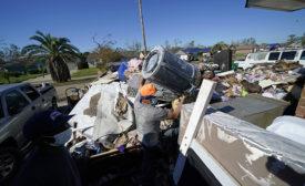 debris from hurricane damaged home