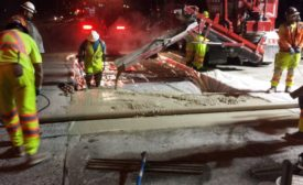 Washington State DOT workers replace concrete panels on I-5 near Tacoma
