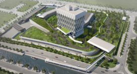 Rendering of embassy building surrounded by roadways and waterways