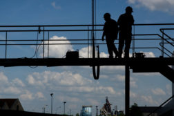 Construction Workers Scaffold Stock Art