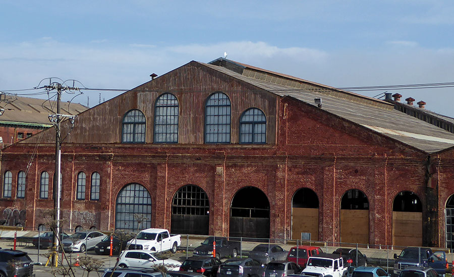 Arched windows of machine shop
