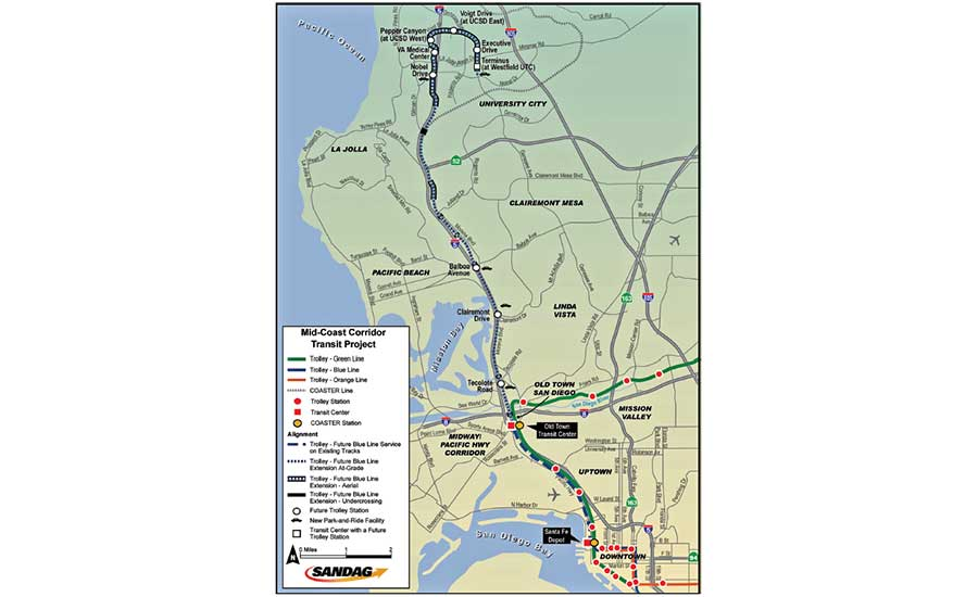 Key Light Rail Extension Connects San go Area | 2019-07 ... on sd coaster map, sd trolley orange line, sd trolley stops near airport, san juan bus route map,