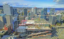 Washington State Convention Center in Seattle under construction