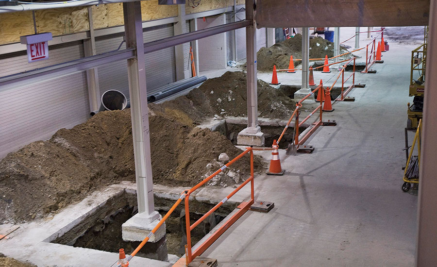 Columns exposed for inspection