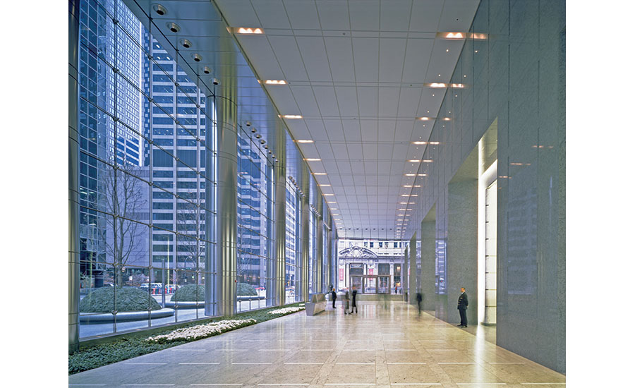 UBS Tower's 40-ft-tall cablestayed glass wall