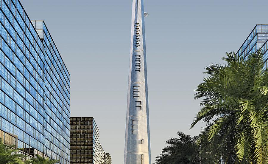 jeddah tower s climb to one kilometer picks up speed