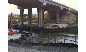 Concrete-column work on overpass