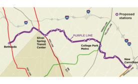 Maryland Purple Line rail route