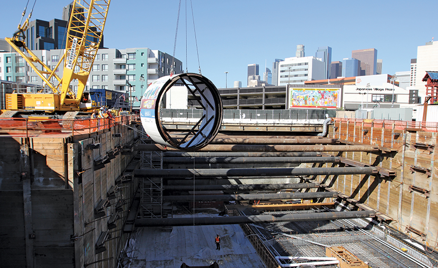 Crews Lower Shield for TBM in LA Metro Project
