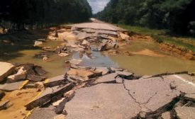 Louisiana flood-damaged road