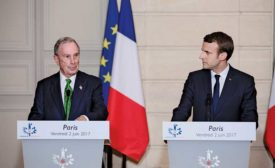 Michael Bloomberg and President Emmanuel Macron
