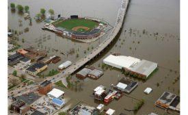 Downtown Davenport, Iowa flooding