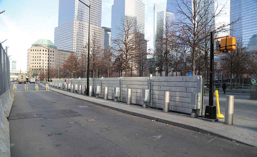 Security bollards at WTC site