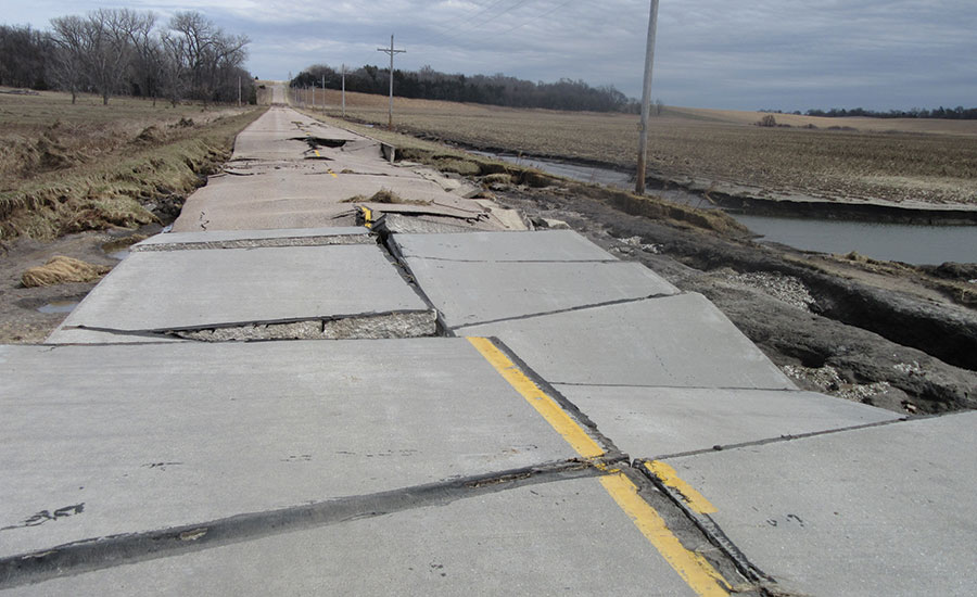 Damage in Nebraska from flooding
