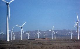 Wind farm in China's large Xinjiang province