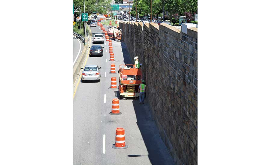 reconstruction of Union Turnpike retaining wall