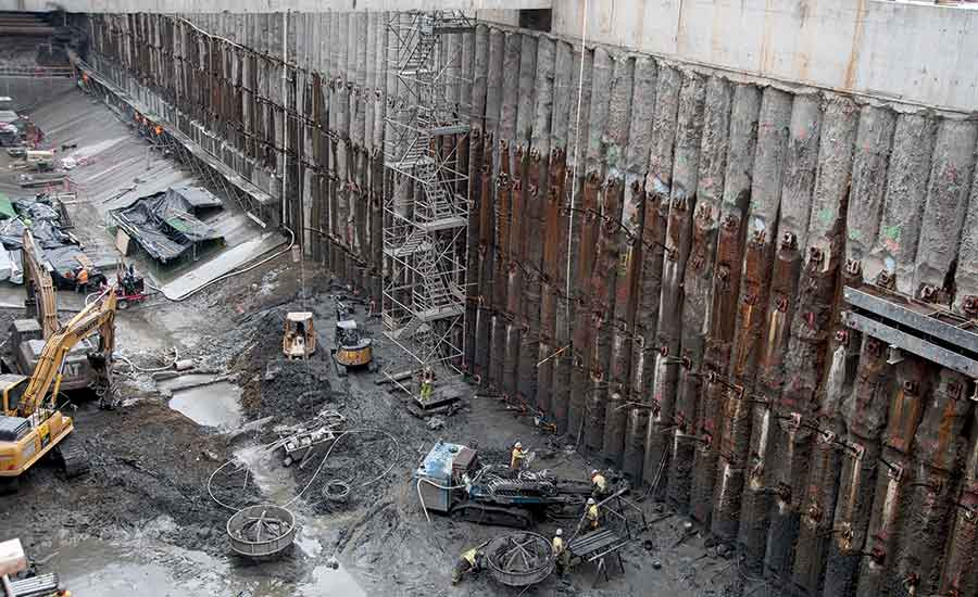 Rainier Square Tower secant pile wall