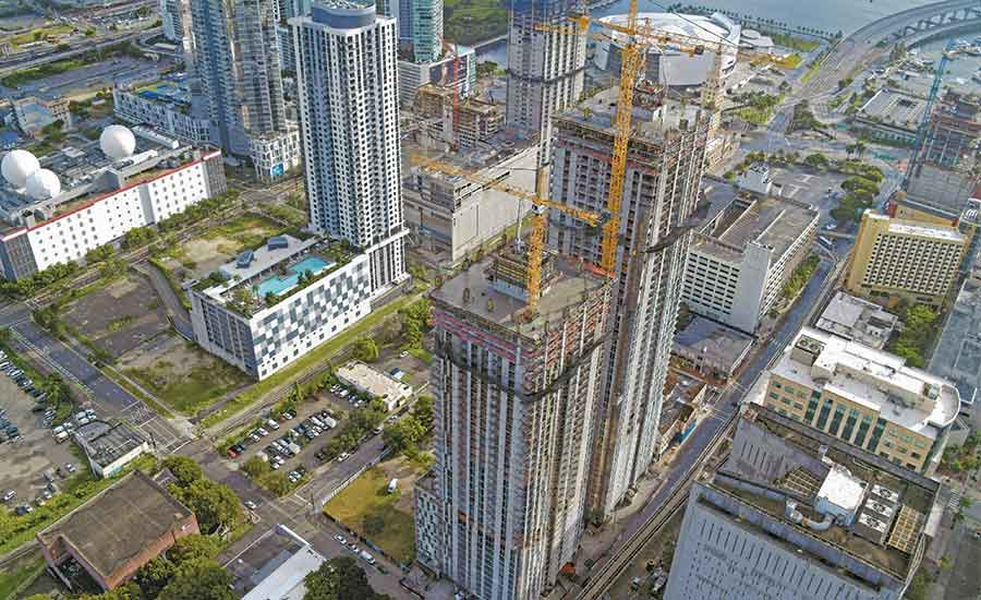 Twin 52-story Miami Residential Development Tops Out