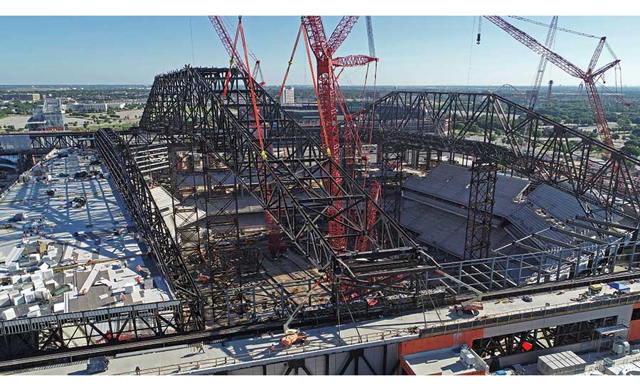 Globe Life Field's first operable roof truss