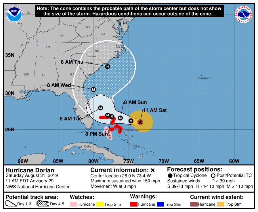 Dorian Hits Bahamas, Expected to Threaten Southeast Coast
