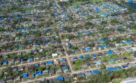 Hurricane Delta - blue tarps - Louisiana