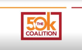 Red and orange logo of 50K Coalition on white gradient background