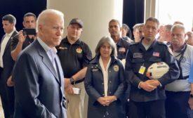 President Biden visits with officials in Surfside, Fla.