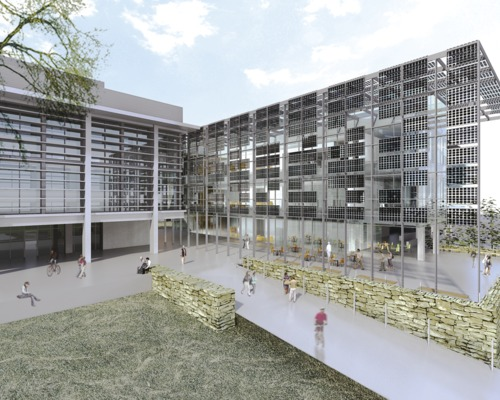 Complex green curtain wall requires model synergy 2014 for Exterior research and design
