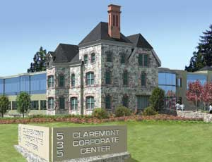 Designed by WESKetch Architecture of Millington, New Jersey, Claremont Corporate Center will include a 2-story main entry lobby with a glass curtain wall facade and a 20-ft stonewall. (Rendering courtesy of Beckerman PR)