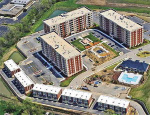 The new Residences at the Grove luxury rental community in Downers Grove, Ill., includes 270 apartments in three eight-story buildings and 24 townhouses.