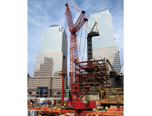 Work on One World Trade center reached a key juncture recently as the massive tower's perimeter columns were placed around the core. The 24 beams measure 60 ft tall and weigh 70 tons.