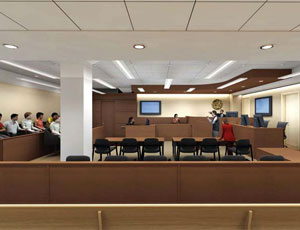 One of the B.F. Sisk courtrooms, as envisioned by SmithGroup.