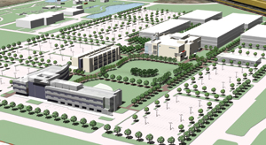A rendering shows Houston Community College's Northeast Campus, which is undergoing an expansion led by Houston design firm Llewelyn-Davies Sahni.