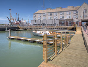 Galveston's Pier 21 marina where the 2,000-sq-ft Harbor House hotel is located called for Structura to re-build the dock.