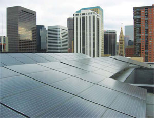 The roof of the Sugar Cube building, adjacent to the historic Sugar Building, contains an 18.9 kW solar PV array designed and installed by SolSource of Denver.