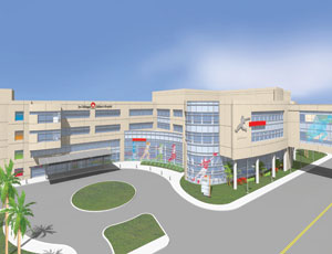 A rendering of the new Joe DiMaggio Children's Hospital facility, now under construction in Hollywood, Fla.