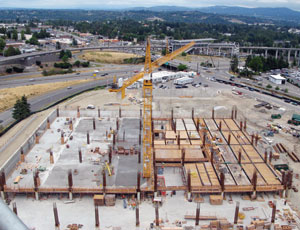 The Port of Seattle stalled work on the Sea-Tac car rental facility while it obtained funding for the project. Turner Construction is the general contractor.