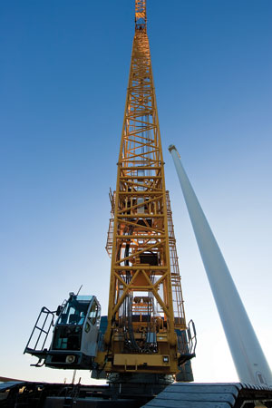 RES Americas used a 650-ton crawler crane to erect the wind towers. The cell weight, 85,000 lb., dictates the size of the crane.