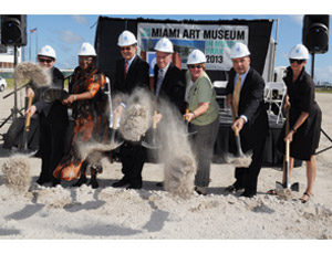 Taking part in the recent groundbreaking for the new Miami Art Museum facility were, from left: Thom Collins, MAM Director; Miami-Dade County Commission Audrey M. Edmonson; MAM Board of Trustees Chairman Aaron Podhurst; Miami-Dade County Mayor Carlos Alvarez; Miami-Dade County Commissioner Sally A. Heyman; Miami-Dade County Manager George M. Burgess; and Christine Binswanger, senior partner with Herzog & de Meuron.