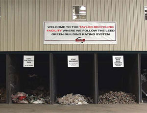 Recycled materials at Taylor Recycling in Montgomery, N.Y. Taylor converts 94 percent of the C&D wastes it receives in comingled load into end products.