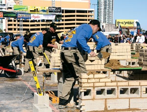 Fast-handed masons competed for more than $100,000 in cash and prizes in front of 4,000 spectators on Feb. 3 at the World of Concrete.
