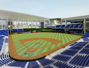 A view of the interior of the new Marlins ballpark. Some of the stadium's planned amenities include concourses that overlook the playing field, a left-field party-suite area complete with a swimming pool, 50 luxury suites and a porch above right field with a bar and standing room with game views.