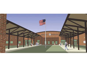 ShenkelShultz Architecture of Orlando designed and Balfour Beatty Construction is building an elementary and middle school at Fort Bragg, N.C. Image courtesy of Balfour Beatty Construction.