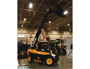 One brand new piece of equipment making its debut was JCB's new 515-40 compact telehandler. The skid-steer-sized unit offers 13 ft of lift height, 3,300 lb of lifting capacity, and a side-entry cab door. It weighs about 7,500 lb. This was the 515-40's first time at any show in North America.