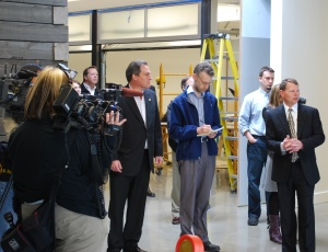AGC of Washington�s David D�Hondt and Doug Moore of member company McKinstry take media through the firm�s new Green Innovation Center during the release of AGC�s �Building a Green Future� report.