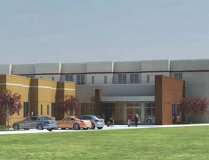 A rendering of the 17,000-sq-ft Rehabilitation Hospital of Mesquite, being built by M.J. Harris.